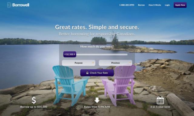 Borrowell marketing place lending homepage www.borrowell.com (CNW Group/Borrowell)