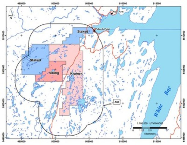 Exhibit B:  A map showing the location of the Viking, Kramer and staked licenses in relation to White Bay and the communities of Pollards Point and Sop's Arm. (CNW Group/Anaconda Mining Inc.)