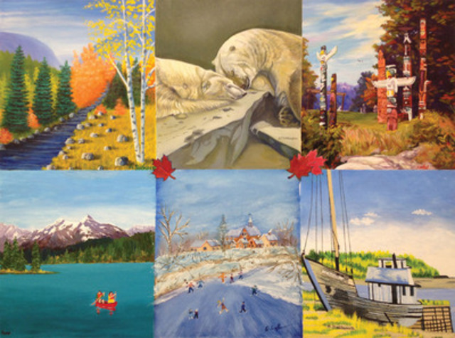 The images of Canada that inspired the Mouth and Foot Painting Artists to create the painting.(CNW Group/Mouth and Foot Painting Artists of Canada)