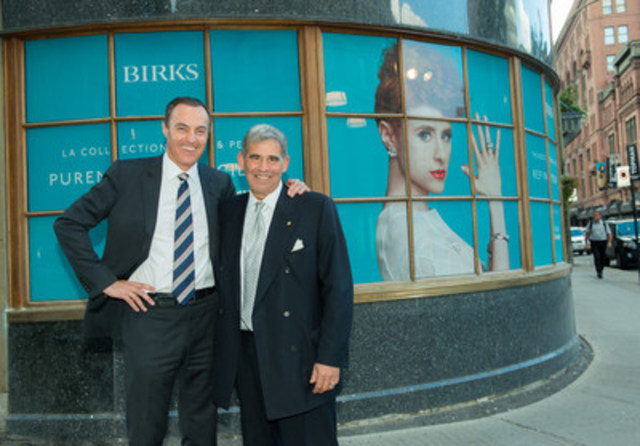 Jean-Christophe Bédos, President and CEO of Birks Group Inc. and Peter W. Hart, Chief Executive Officer of Rideau Recognition Solutions Inc., celebrate the acquisition of Birks' Corporate Sales Division by Rideau, a leader in employee recognition and reward solutions. (CNW Group/Birks Group Inc.)