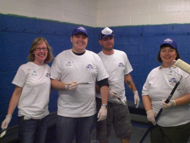 Volunteers work to upgrade one of the dressing rooms at the Maple Lions Arena in Maple, Ontario as part of the Lowe's and Hockey Canada rink refurbishment program. Lowe's will invest $500,000 to renovate two rinks per year for the next five years. The rinks to be renovated in 2012 are the Centennial Arena in the City of Toronto and the Tom Brown Arena in Ottawa, Ontario. (CNW Group/Lowe's Canada)