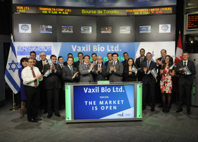Isaac Maresky, Executive Director, Vaxil Bio Ltd. (VXL), joined Tim Babcock, Director, Listed Issuer Services, TSX Venture Exchange to open the market. Vaxil Bio Ltd. is an Israeli biotech company focused on cancer immunotherapy, based in the Weizmann Science Park in Rehovot, Israel. Vaxil Bio Ltd. commenced trading on TSX Venture Exchange on March 10, 2016. For more information please visit www.vxlbio.com. (CNW Group/TMX Group Limited)