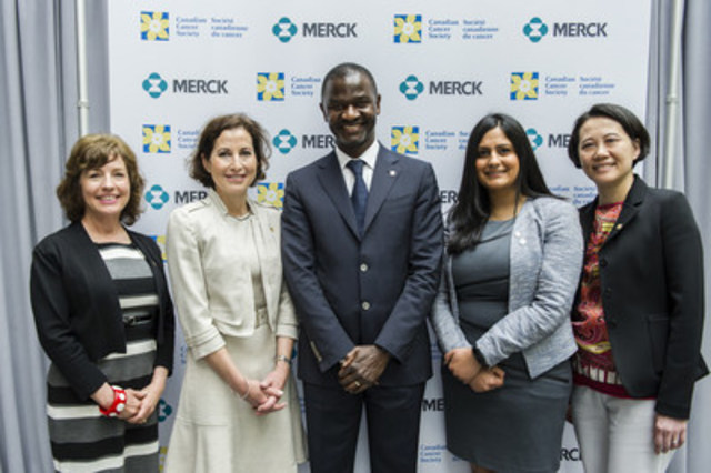 (From left to right): Ms. Wendy Morton, Associate Director, National Policy and Stakeholder Relations (Oncology), Merck Canada Inc.; Ms. Anne Vézina, Interim President and CEO, Canadian Cancer Society; Mr. Chirfi Guindo, President and Managing Director, Merck Canada Inc.; Ms. Kamal Khera, Parliamentary Secretary to the Minister of Health; and Dr. Lillian L. Siu, Professor of Medicine and Staff Medical Oncologist, Princess Margaret Cancer Centre. (CNW Group/Canadian Cancer Society)