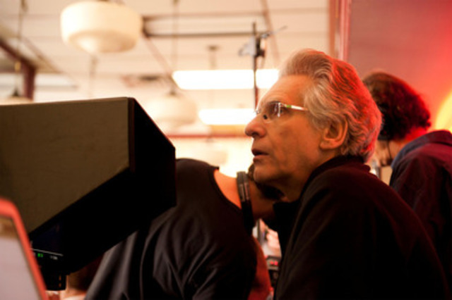 Exclusive behind-the-scenes Cosmopolis shot for your use. Director David Cronenberg. (CNW Group/TELEFILM CANADA)