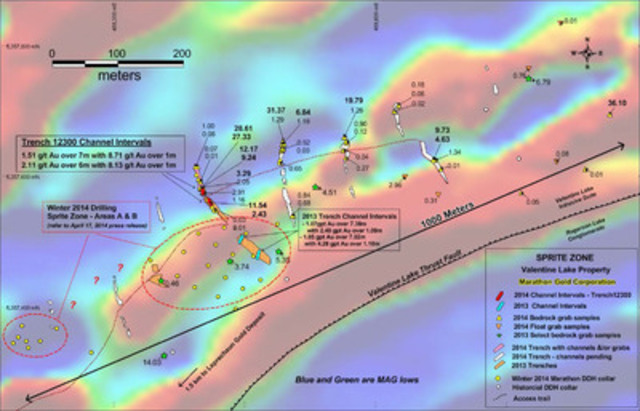 Figure 1: Location map of Sprite Zone showing new channel, trenching and bedrock sample locations, the winter ...
