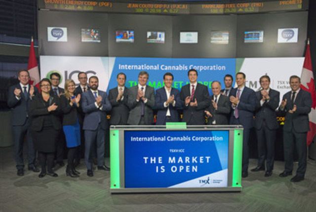 Guillermo Delmonte, CEO, alongside Juan Sartori, Shareholder, Michael Galego, Director, and Ravi Sood, Director, International Cannabis Corp. (ICC), joined Eric Loree, Team Manager, Listed Issuer Services, TSX Venture Exchange to open the market. ICC has operations in Uruguay, and is focused on the licensed production, development and sale of recreational cannabis, cannabinoid extracts and by-products for medicinal uses and industrial hemp. International Cannabis Corp. commenced trading on TSX Venture Exchange on November 29, 2016 (CNW Group/TMX Group Limited)