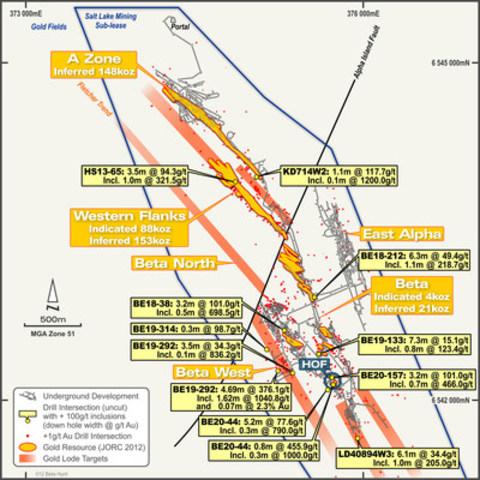 Figure 2 : Vue en plan de la mine Beta Hunt montrant les activités minières en cours (HOF) et à venir à Beta Hunt. Le plan indique aussi la localisation des cibles pour les filons aurifères et des intersections de forage à haute teneur (non coupée) en dehors des ressources existantes. (Groupe CNW/Corporation Royal Nickel)
