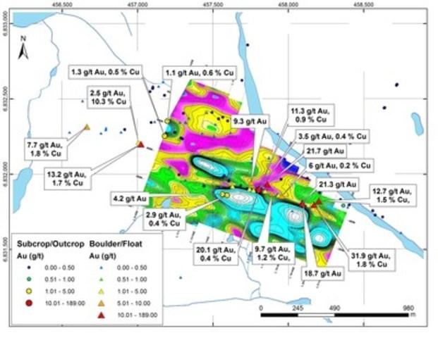 Figure 3 : Résultats pour l'or et le cuivre des échantillons choisis sur la zone Esperance, superposés à la résistivité en surface (résistivité élevée en bleu, résistivité faible en rose) (Groupe CNW/RNC Minerals)
