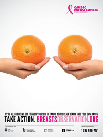 Quebec Breast Cancer Foundation's 2015 Awareness Campaign for Breast Observation. (CNW Group/Quebec Breast Cancer Foundation)