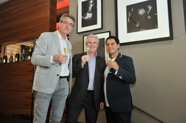 Perrier-Jouët® toasted Beautiful Moments in Toronto International Film Festival® History by unveiling a photo exhibit by celebrity photographer George Pimentel. The exhibit is on display at Nota Bene restaurant during the Festival. Toasting: (left) Piers Handling, Director and CEO, TIFF; (middle) Patrick O'Driscoll, President, CEO, Corby Distilleries Limited; (right) George Pimentel. (CNW Group/Corby Distilleries Limited)