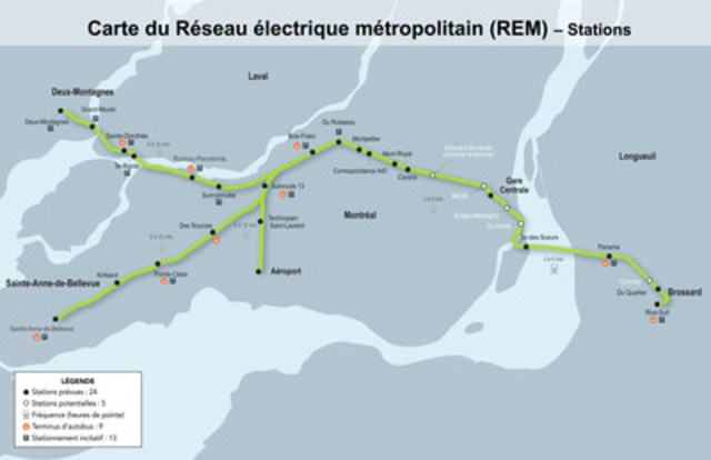REM – tracé avec stations (Groupe CNW/CDPQ Infra)
