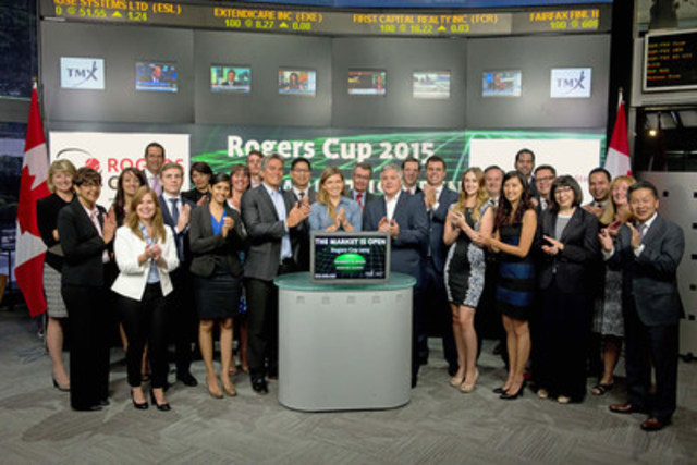 Patrick Primerano, President & CEO, National Bank Correspondent Networks & Simona Halep No. 3 Ranked WTA Player joined Robert Peterman, Director, Global Business Development, Toronto Stock Exchange & TSX Venture Exchange  to celebrate the launch of the Rogers Cup. The Rogers Cup presented by National Bank is a professional tennis tournament organized by Tennis Canada that originated in 1881. The tournament is shared each year between Montreal and Toronto, hosting the men in one city and the women in the other, alternating each year. This year the tournament will run from August 7 – August 16 with the women in Toronto and the men in Montreal. For more information please visit www.rogerscup.com. (CNW Group/TMX Group Limited)