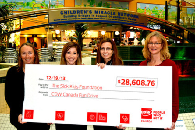 CDW Canada coworkers present a cheque to SickKids Development Associate, Jennifer Frew, to benefit the Children's Miracle Network in support of The Hospital for Sick Children (SickKids). From left to right: Jennifer Frew, Jackie Macera, Julie Clivio and Lynne Ivanovich. (CNW Group/CDW Canada Inc.)