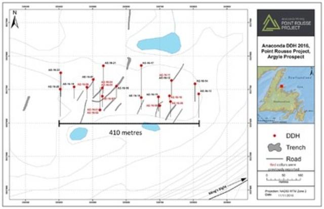 Exhibit B: Argyle Phase 1 Drilling Program, drill hole location map (CNW Group/Anaconda Mining Inc.)