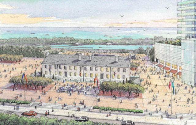 The ground around the Stanley Barracks heritage building will be reinvigorated and transformed into a festival square, creating a space for community gatherings and celebrations. (CNW Group/Cadillac Fairview Corporation Limited)