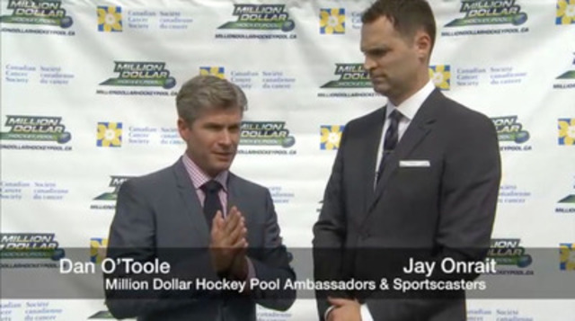 Video: Sportscasters Jay Onrait and Dan O'Toole and hockey legends Doug Gilmour and Brad Marsh joined the Canadian Cancer Society to launch Million Dollar Hockey Pool.