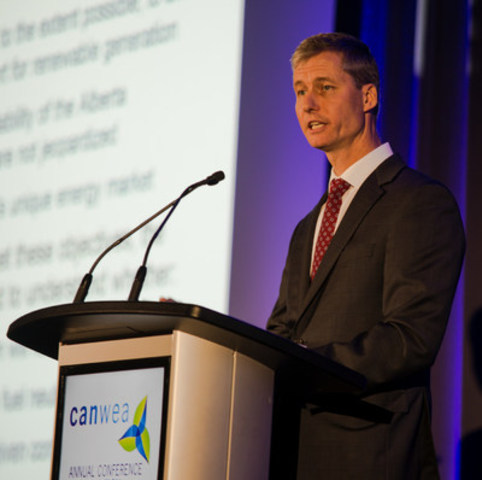 Alberta Electric System Operator (AESO) vice-president of renewables development and sustainability Michael Law speaks at the Canadian Wind Energy Association's (CanWEA) 32nd annual conference and exhibition in Calgary, Alta. on Thursday, Nov. 3 2016. Bryan Passifiume/CanWEA (CNW Group/Canadian Wind Energy Association)