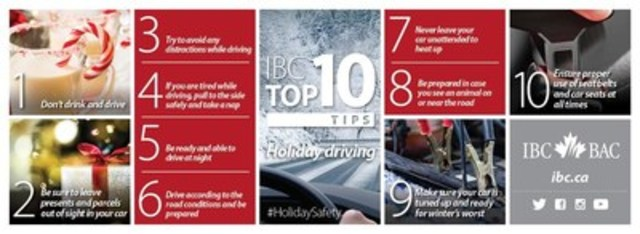 IBC Top 10: Tips for a safe holiday season on the roads (CNW Group/Insurance Bureau of Canada)