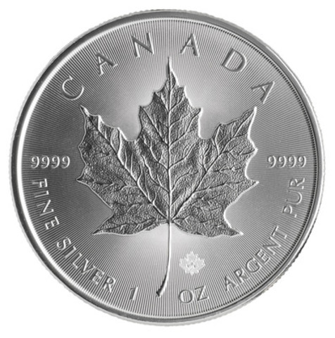 The Royal Canadian Mint's new 2014 Silver Maple Leaf bullion coin, with advanced visual security features (CNW Group/Royal Canadian Mint)