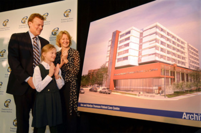 Toronto East General Hospital received a transformational $5 million donation from Peter and Diana Thomson, to establish the Ken and Marilyn Thomson Patient Care Centre. (CNW Group/Toronto East General Hospital)