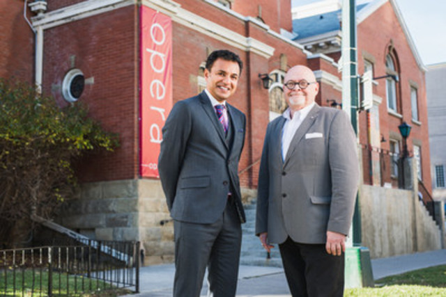 Strategic Group CEO, Riaz Mamdani with Calgary Opera General Director & CEO Bob McPhee in front of the newly named Mamdani Opera Centre. (CNW Group/Strategic Group)