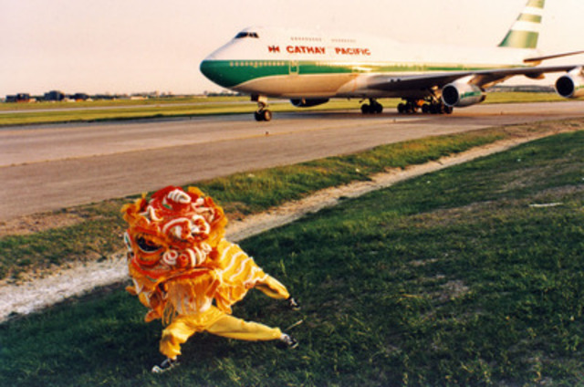 On June 9, 1994 Cathay Pacific's first flight arrives at Toronto Pearson International Airport greeted by a traditional lion dance. (CNW Group/Cathay Pacific Airways)