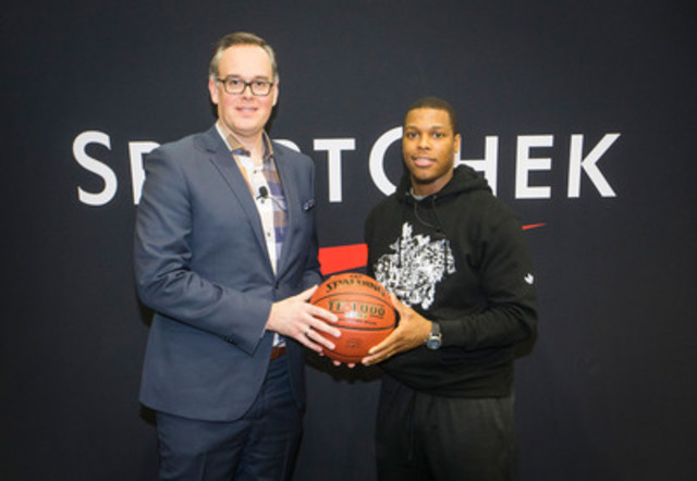 Kyle Lowry, Toronto Raptors All-Star, is welcomed to the Sport Chek family by Duncan Fulton, SVP of Canadian Tire Corporation. Lowry and Sport Chek will work together to grow the game of basketball in Canada. (CNW Group/FGL Sports Ltd.)