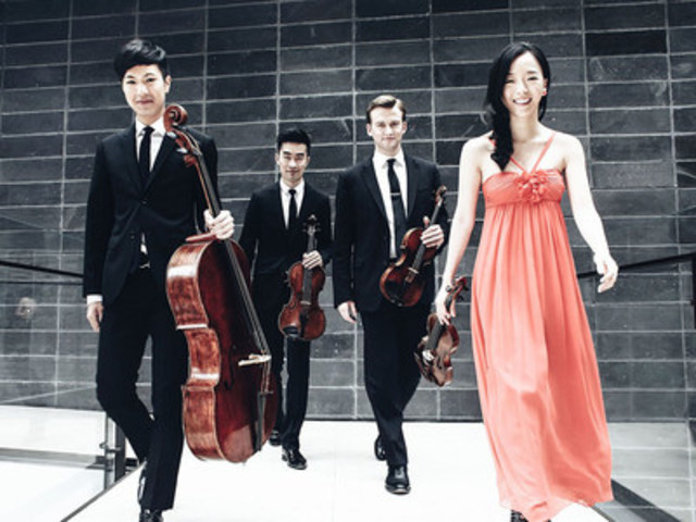 Rolston String Quartet (Canada). Luri Lee, violin, Jeff Dyrda, violin, Hezekiah Leung, viola, Jonathan Lo, cello. (CNW Group/Banff Centre for Arts and Creativity)