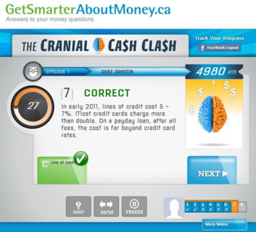 The Cranial Cash Clash web application (CNW Group/Investor Education Fund)