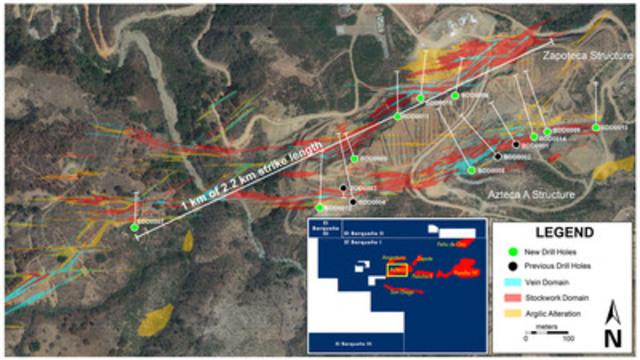 Figure 1 - El Barqueño Drill Results Map (CNW Group/Cayden Resources Inc.)
