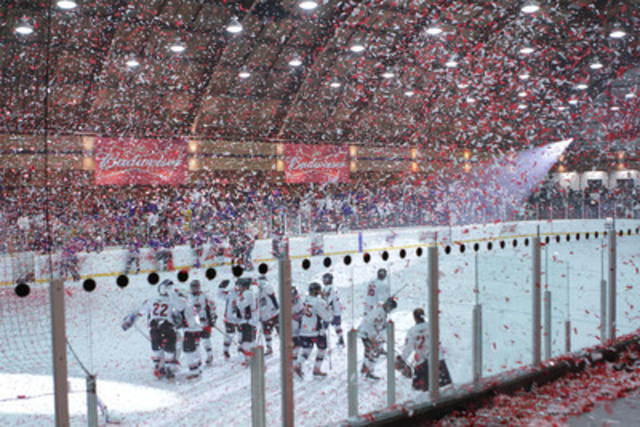 Budweiser takes a rec hockey league game to the big league by surprising two men's teams with all the elements of a pro-hockey game on December 21, 2011 in Port Credit, ON. The Toronto Generals (featured) bested Les Amigos 3 - 2 in overtime. (CNW Group/Budweiser)