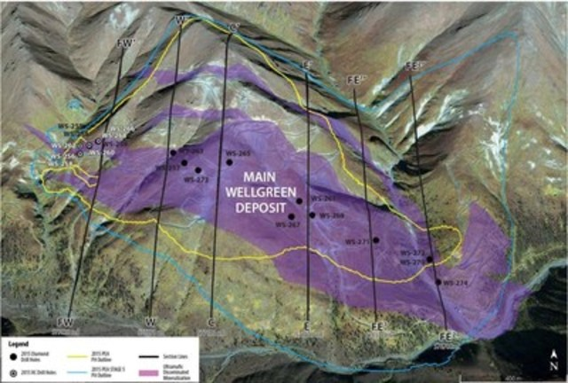 Wellgreen map of fall and winter 2015 drill hole collar locations (CNW Group/Wellgreen Platinum Ltd.)