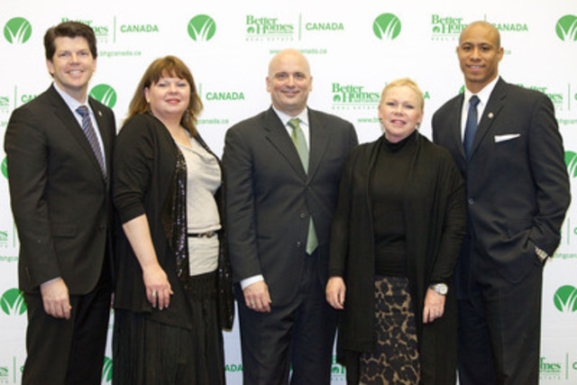 (left to right) Rob Vanden Broek, Yvonne Thomas, Nelson Goulart, Sherry Chris and Matt Dominguez pose for a photo after the launch of four Better Homes and Gardens Real Estate Signature Service offices in Saskatchewan on Wednesday, Jan. 18, 2012 in Moose Jaw, Sask. The announcement today along with the one yesterday in Alberta gives Better Homes and Gardens Real Estate Canada eleven offices in Western Canada. (CNW Group/Better Homes and Gardens Real Estate Canada)