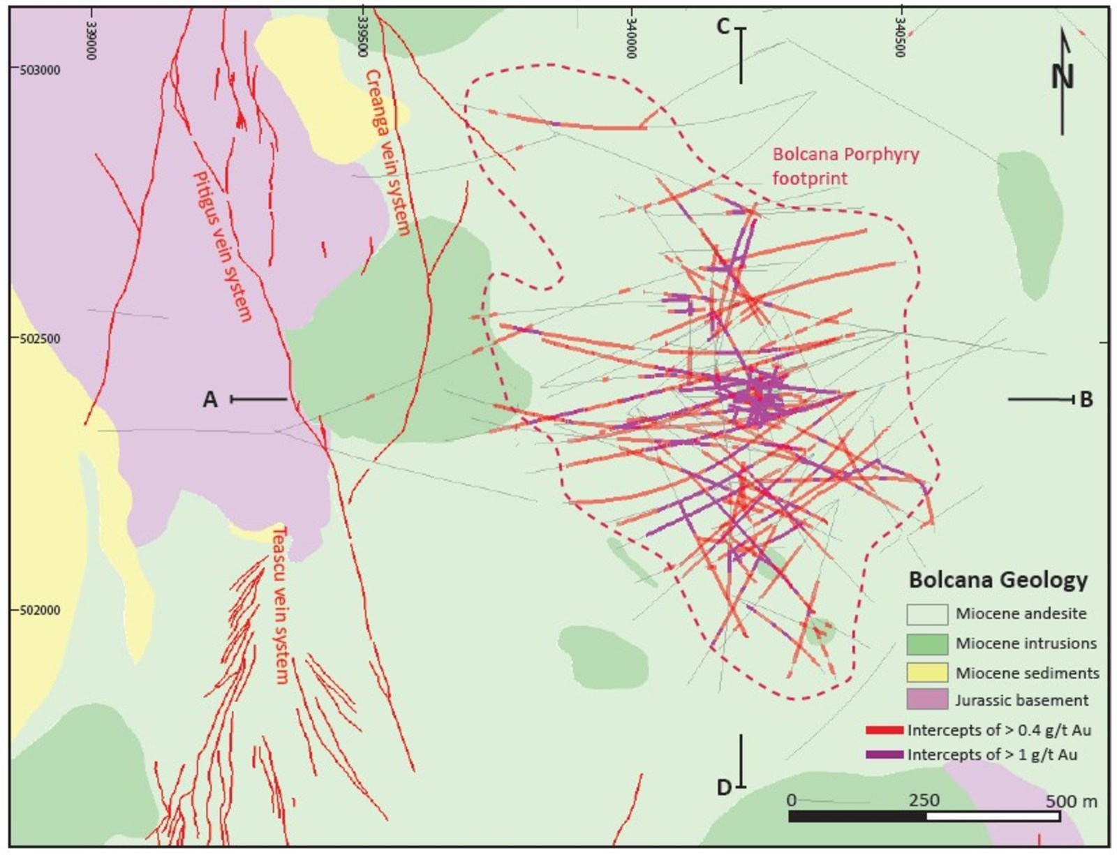 Figure 3: Geological map of the Bolcana Project area showing outline of the Au-Cu porphyry system and traces of drillholes completed in 2017 and 2018 programs.