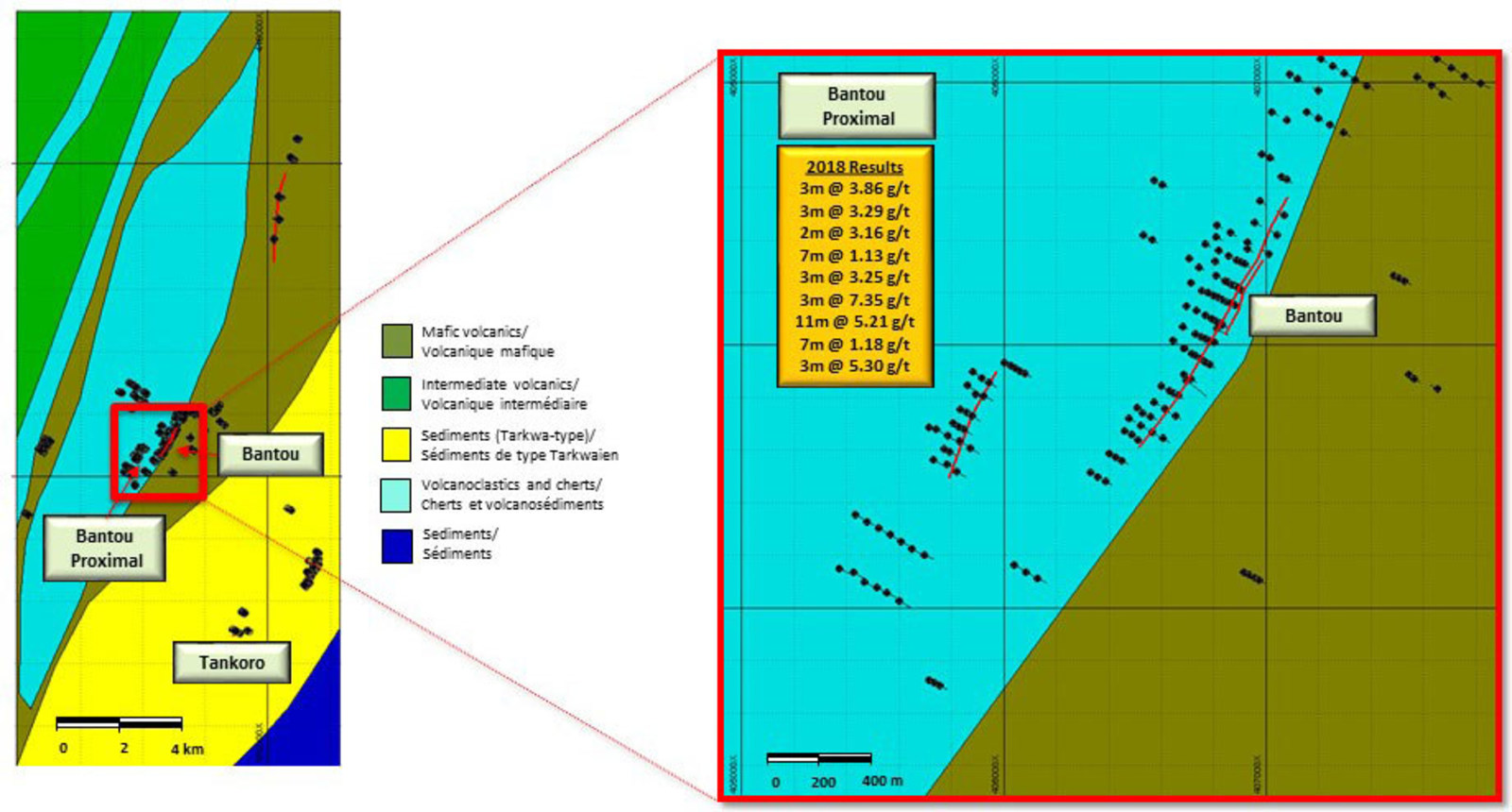 Figure 3. Location of Bantou and Bantou Proximal Drilling