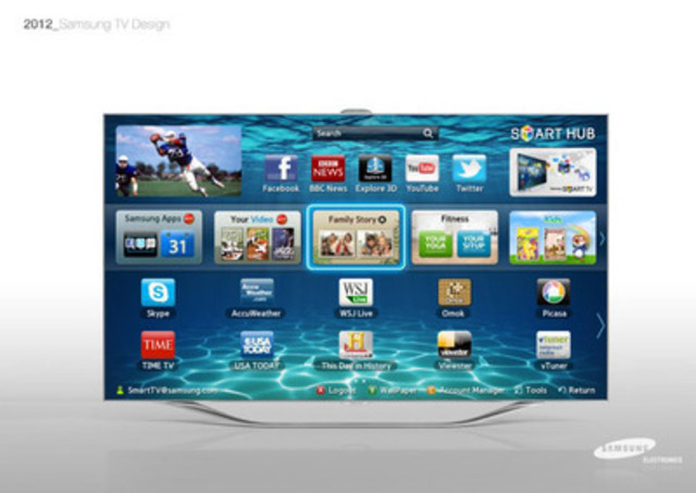 Samsung's Flagship Smart TV, the ES8000, helps mark 1Million flat panel TVs Shipped in Canada. (CNW ...