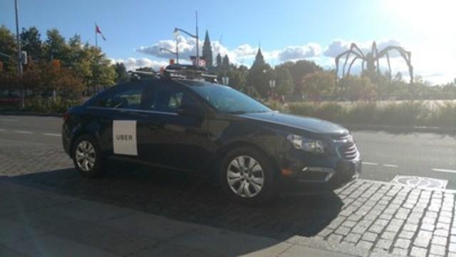 Une voiture cartographe Uber à Ottawa. (Groupe CNW/Uber Canada Inc. (Québec))