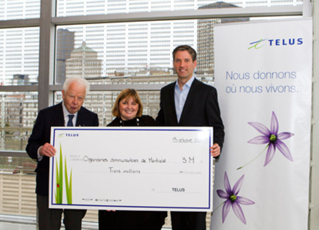 TELUS was nominated as the Philanthropic Company of the Year by The Lighthouse Children and Families. In this photo: Bernard Lamarre, François Gratton (TELUS) and Lyse Lussier (The Lighthouse Children and Families) (CNW Group/TELUS Corporation)