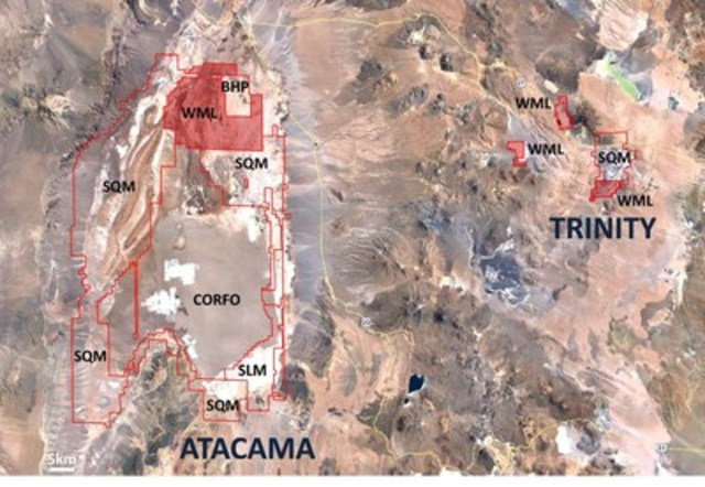 Figure 2: Wealth's total current lithium project position in northern Chile: the Atacama and Trinity ...