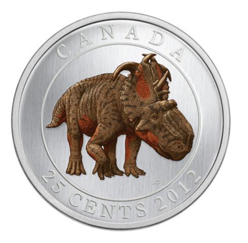 La pièce de collection de 25 cents photoluminescente Créatures préhistoriques 2012 - Pachyrhinosaurus Lakustai de la Monnaie royal canadienne, nommée la pièce la plus innovatrice dans le cadre des prix Coin of the Year 2014 de Krause Publications (en clarté) (Groupe CNW/Monnaie royale canadienne)