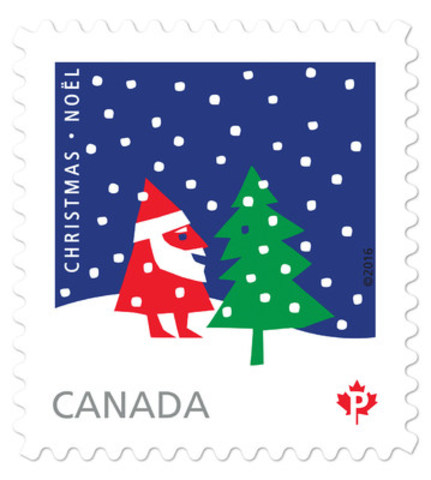 Santa Claus and a single Christmas tree – by Rolf Harder. (CNW Group/Canada Post)