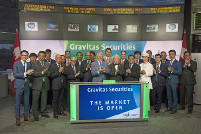 Neil Gilday, CEO, Gravitas Securities Inc. joined Robert Peterman, Director, Global Business Development, Toronto Stock Exchange & TSX Venture Exchange to open the market. Also, joining them was the Hon. Ernie Eves, Chair, Gravitas Financial Inc. and RuoXiong Wang, Hon. Chair, Gravitas International Inc.. Headquartered in Toronto, Gravitas Securities Inc. (GSI) is an independent, internationally-owned and operated wealth management and capital markets firm. GSI is represented in the United States through Gravitas Capital International and in China and the Middle East through a partnership with Gravitas International Corporation. Gravitas Securities Inc. has been a TSX Venture Exchange member (207) since March, 2010. For more information, please visit http://www.gravitassecurities.com/ (CNW Group/TMX Group Limited)