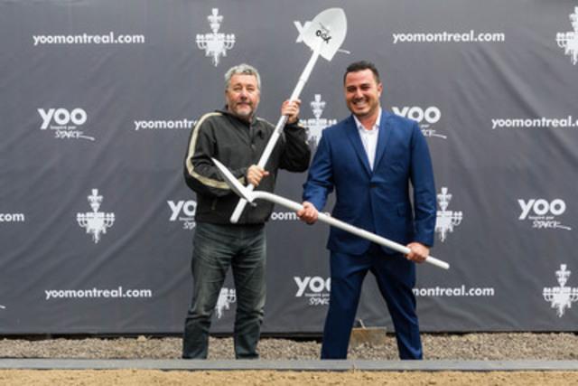 Philippe Starck et Maxime Lachance procèdent à la première pelletée de terre de YOO Montréal. (Groupe CNW/YOO Montreal)