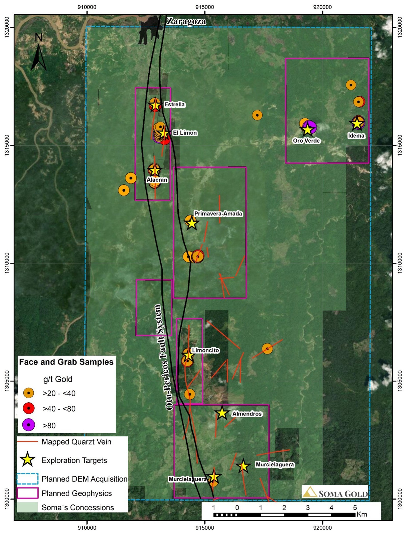 Map #1: Plan view of the exploration potential for Soma's concessions. High gold grades are mostly related to Out-Pericos fault trace. Most of the mapped veins have a well-defined NS trend. (CNW Group/Soma Gold Corp.)