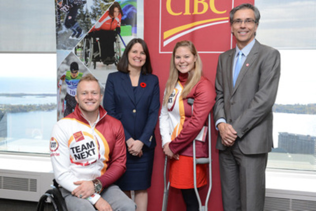 CIBC teams with Canadian Paralympic Committee in new multi-year sponsorship. Left to Right, Josh Cassidy, Paralympian and CIBC Team Next mentor, Laura Dottori-Attanasio, CIBC's Senior Executive Vice-President and Chief Risk Officer, Stephanie Dixon, Paralympian and CIBC Team Next mentor, and Gaétan Tardif, President of the Canadian Paralympic Committee. (CNW Group/Canadian Imperial Bank of Commerce)