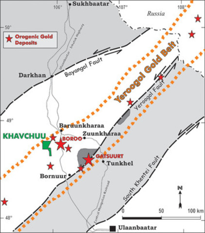 Figure 1. Khavchuu gold project in the Yeroogol Gold Belt of northern Mongolia in relation to other gold deposits in the region (CNW Group/Altan Rio Minerals Limited)