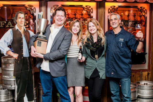 The winning team of the 2nd Annual Samley Cup homebrew competition, Jon Snyder, Nicole Paine and Lauren Jerome from Toronto's Beer Bistro. Hosted by Samuel Adams, the event took place Monday, September 17th at the Bier Markt Esplanade in Toronto. Samuel Adams brewer, Dean Gianocostas (pictured, far right) presented the award to the Beer Bistro team for their Black IPA brew, Bitter Waitress. (CNW Group/Samuel Adams)