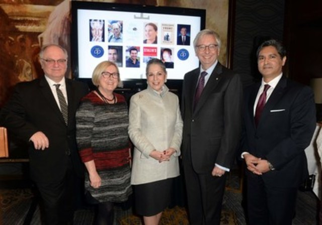 Announcing the five finalists on the shortlist for the 2016 RBC Taylor Prize, with Prize Founder Noreen Taylor (centre), Jurors from left to right, Joseph Kertes, Susanne Boyce, and Stephen J. Toope, with Vijay Parmar of RBC Wealth Management. Photo Tom Sandler (CNW Group/RBC Taylor Prize)