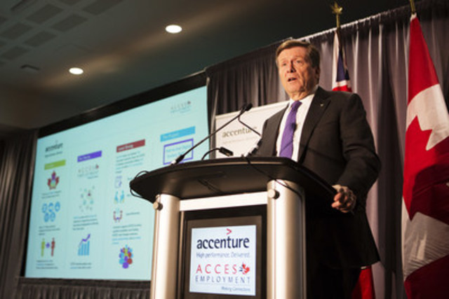 Toronto Mayor John Tory speaks at Accenture's official announcement of a C$1.4 million grant to ACCES Employment. (CNW Group/Accenture)
