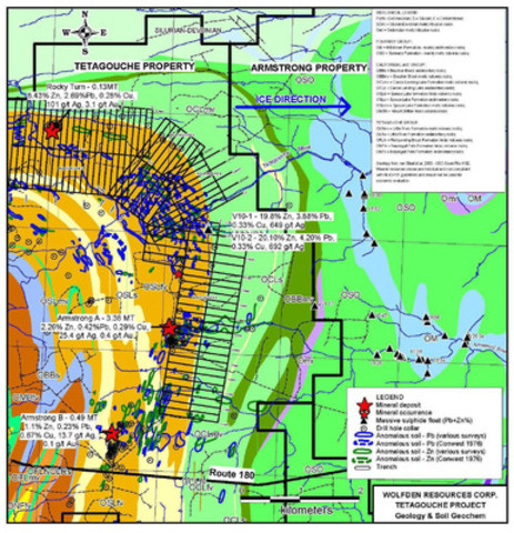 Tetagouche Project Geology & Soil Geochem Map (CNW Group/Wolfden Resources Corporation)